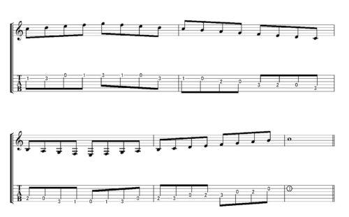 2弦の1フレットの「ド」(人差し指)から上行して下降するパターンです