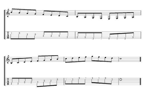 2弦の1フレットの「ド」(人差し指)から下降してから上行するパターンです